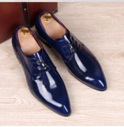 picture color / 6.5mens business wedding work dress bright genuine leather shoes point toe oxford shoe lace up Korean fashion Zapatos Hombres man