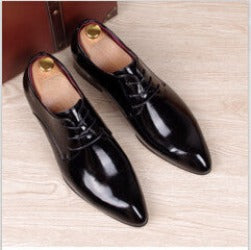 a171be1c1f1 mens business wedding work dress bright genuine leather shoes point toe  oxford shoe lace up Korean