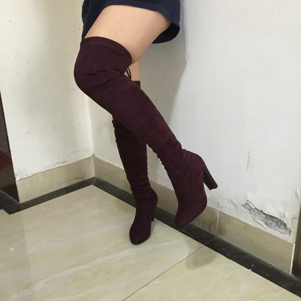 9ff2f23a3 Women Stretch Faux Suede Slim Thigh High Boots Sexy Fashion Over the Knee  Boots High Heels