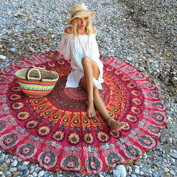 Pattern 1Indian Mandala Tapestry Peacock Printed Boho Bohemian Beach Towel Yoga Mat Sunblock Round Bikini Cover-Up Blanket