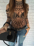 Sexy Elegant Women Totem Printed Jumpsuits Romper Long Sleeve Slim Perspective Bodysuit Overalls Playsuit-Dollar Bargains Online Shopping Australia