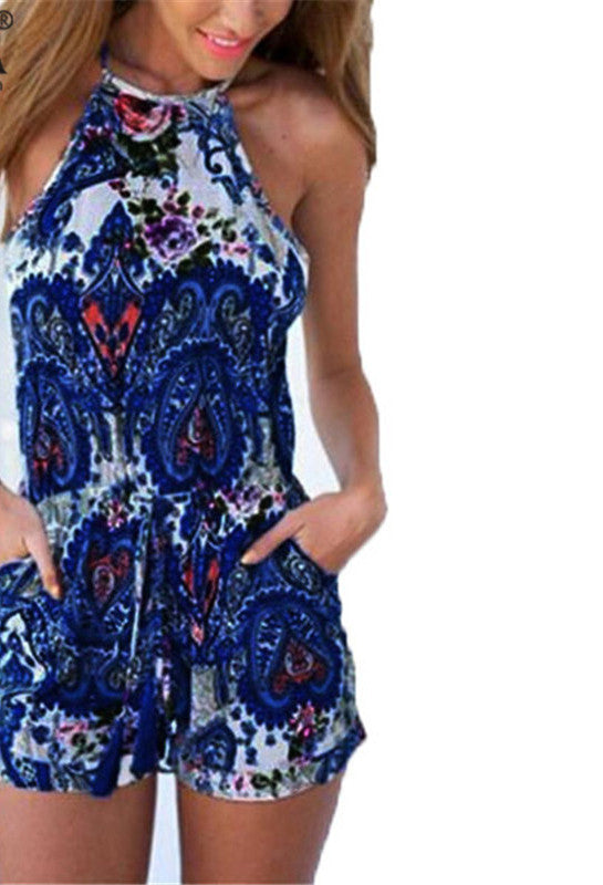 92d0377ceee1fd Fashion Rompers Summer Women Jumpsuit Sexy Halter Neck Sleeveless Floral  Print V Neck Backless Playsuits Casual