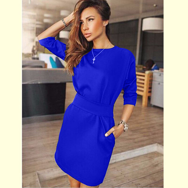 Picture Dress / LAutumn Dress Women Fashion Casual Mini Dress Solid Color Short Sleeve O-neck Women Dress Two Side Pocket Black Dresses