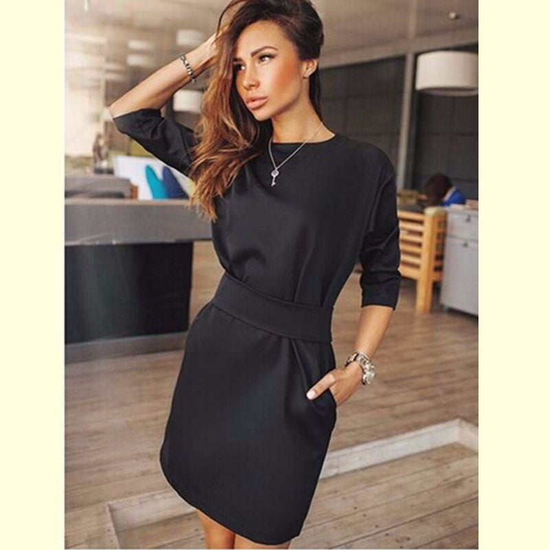 Picture Dress 1 / SAutumn Dress Women Fashion Casual Mini Dress Solid Color Short Sleeve O-neck Women Dress Two Side Pocket Black Dresses