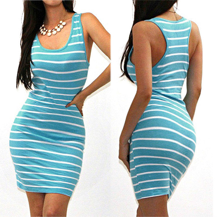 Blue / SSexy Tank Dress Women Mini Club Beach Dress Bandage Dress Casual Striped Dresses Sleeveless Bodycon Vestidos