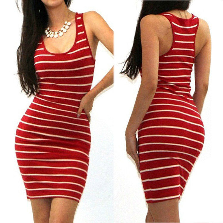 Red / SSexy Tank Dress Women Mini Club Beach Dress Bandage Dress Casual Striped Dresses Sleeveless Bodycon Vestidos