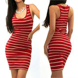 Sexy Tank Dress Women Mini Club Beach Dress Bandage Dress Casual Striped Dresses Sleeveless Bodycon Vestidos-Dollar Bargains Online Shopping Australia