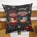 Owl Printed Linen Cushion For Sofa Decorative Throw Cotton Sofa Decor Couch B0-Dollar Bargains Online Shopping Australia