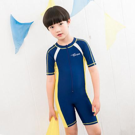 Deep Blue / 2XL 120 to 130CMChild Swimwear One Piece Boys Girls Swimsuits Kids Bathing Suits Baby Swimsuit Girl Children Beach Wear Diving Swimming