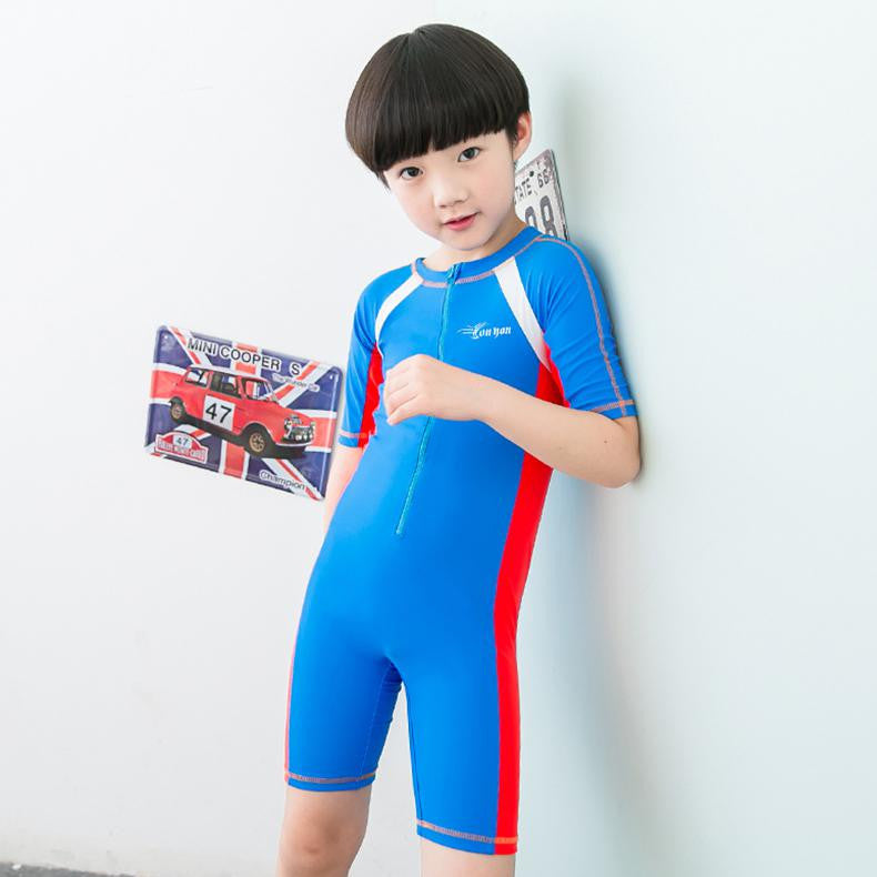 Blue / 2XL 120 to 130CMChild Swimwear One Piece Boys Girls Swimsuits Kids Bathing Suits Baby Swimsuit Girl Children Beach Wear Diving Swimming Suit