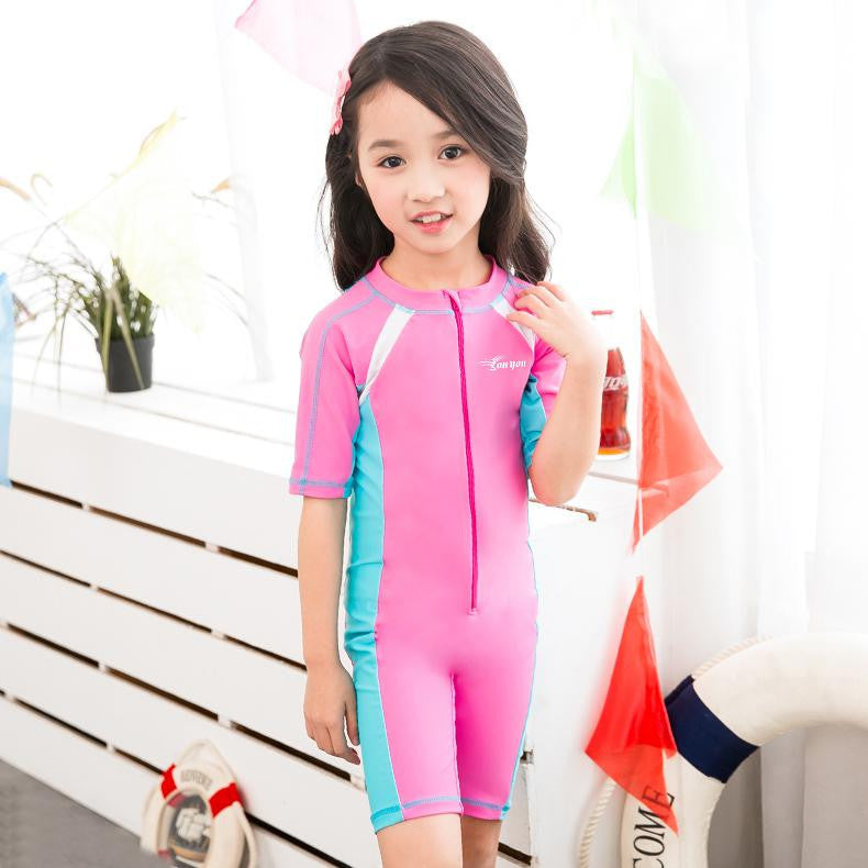 Pink / 2XL 120 to 130CMChild Swimwear One Piece Boys Girls Swimsuits Kids Bathing Suits Baby Swimsuit Girl Children Beach Wear Diving Swimming Suit
