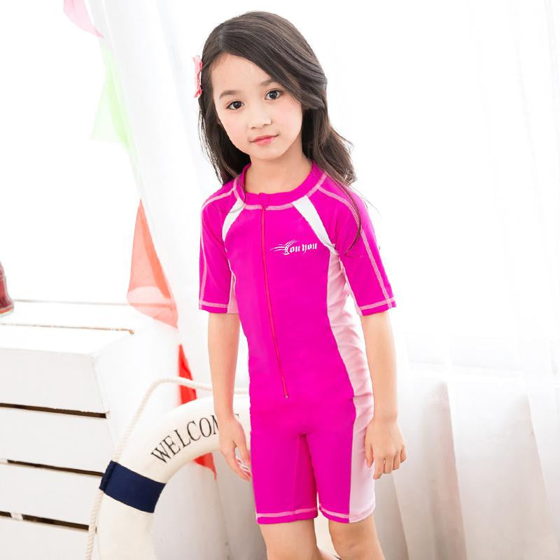 Mei Pink / M 90 to 100CMChild Swimwear One Piece Boys Girls Swimsuits Kids Bathing Suits Baby Swimsuit Girl Children Beach Wear Diving Swimming Suit