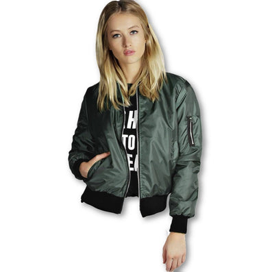 Spring Autumn Women Thin Jackets Tops MA1 Bomber Jacket Long Sleeve Coat Casual Stand Collar Slim Fit Outerwear Plus Size-Dollar Bargains Online Shopping Australia