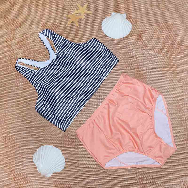 Owlprincess New Striped Tankini High Waist Tankinis Summer Women Tank Push Up Top Swimwear Sports Swimsuit Pink Set Bathing SuitXL