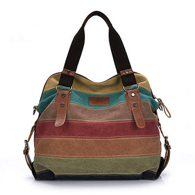 Canvas Bag Tote Striped Women Handbags Patchwork Women Shoulder Bag New Fashion Sac a Main Femme De Marque Casual Bolsos Mujer-Dollar Bargains Online Shopping Australia