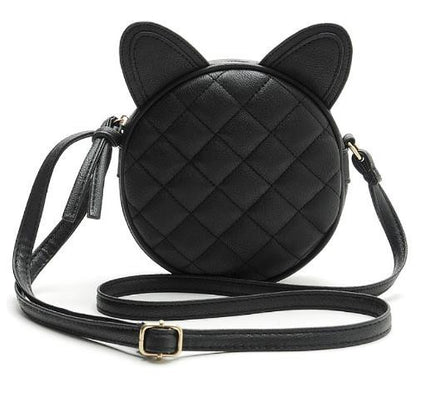 Good Quality Leather Mini Women Messenger Bag Circle Crossbody Bags Cat Ear Shoulder Bag Famous Brand Women Handbag Round Purses-Dollar Bargains Online Shopping Australia