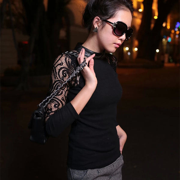 Black / MWomen Lace Long Sleeve shirt Slim Knitwear Leather Crew Neck Tops