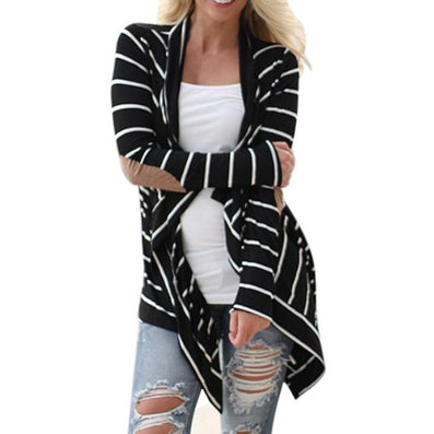 Black and White Tshirt Striped Elbow Patching PU Leather Long Sleeve Knitted Cardigan Fall Slim Spring Autumn Women Sweater-Dollar Bargains Online Shopping Australia