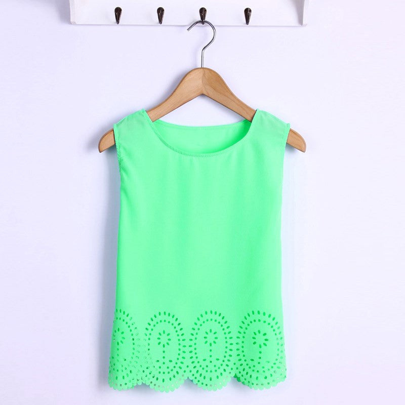 Green / SPlus Size 6 Colors Summer Women Cropped Top Chiffon Blouses Tank Sleeveless Hollow Out Shirt Casual Blusas Feminina S-4XL
