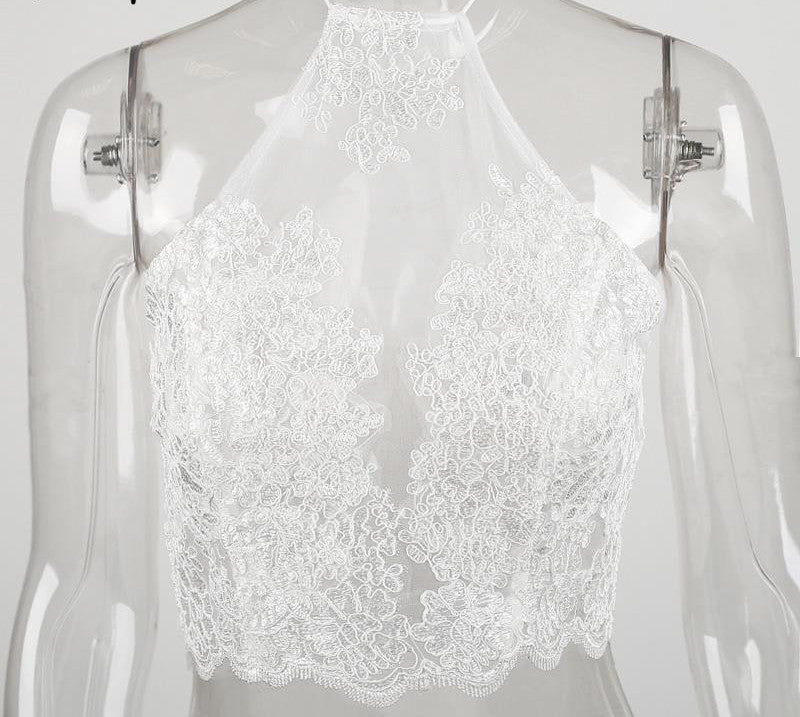 06f91a54ea01b Elegant white lace crop top Summer beach backless short halter tops Sexy  white party camis gauze