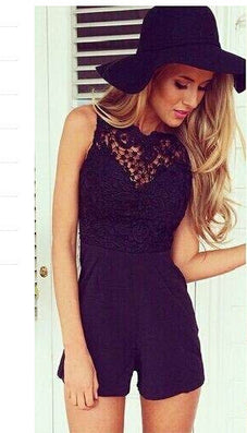 New Arrival Tank Slim Women's sexy bodycon jumpsuit With Lace Patchwork playsuit Sleeveless shorts coveralls Macacaos J2314-Dollar Bargains Online Shopping Australia