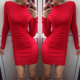Autumn Dress Women Solid Color Package Hip Dress Ukraine Casual Long-sleeved Plus size Club Party Dresses-Dollar Bargains Online Shopping Australia