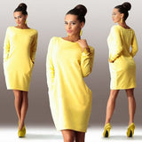 New Brand Autumn Winter Women Dress O neck Long Sleeve Office Dress Fashion Slim Bodycon Dress Women's Mini Dresses-Dollar Bargains Online Shopping Australia