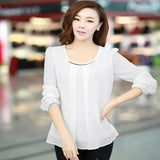 Sequins O-Neck Elastic Cuff Shirt for Spring Autumn Blouse Tops Chiffon shirt-Dollar Bargains Online Shopping Australia