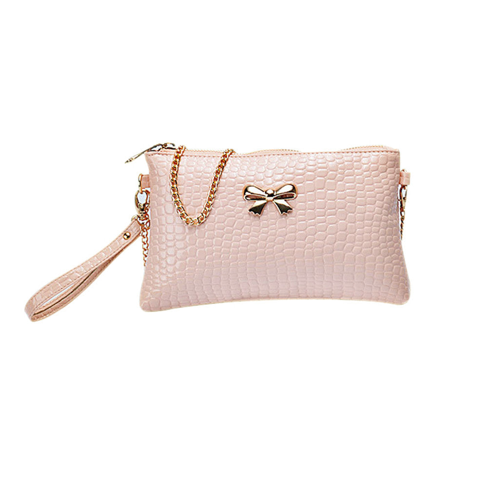 New Women's Chain PU Small Shoulder Bag Crocodile Bow Decoration Clutch Pouch Bags HB88