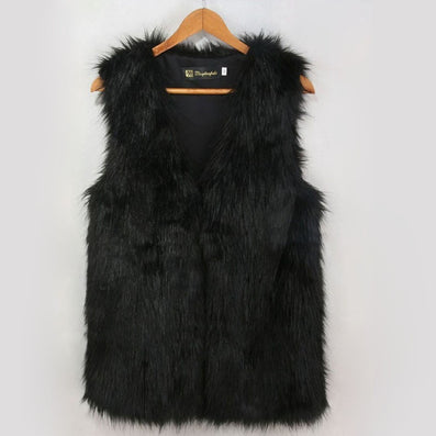 Ladies Autumn & Winter Warm Sleeveless Fake Fur V-neck Long Waistcoat Design Outwear Vest High Quality-Dollar Bargains Online Shopping Australia