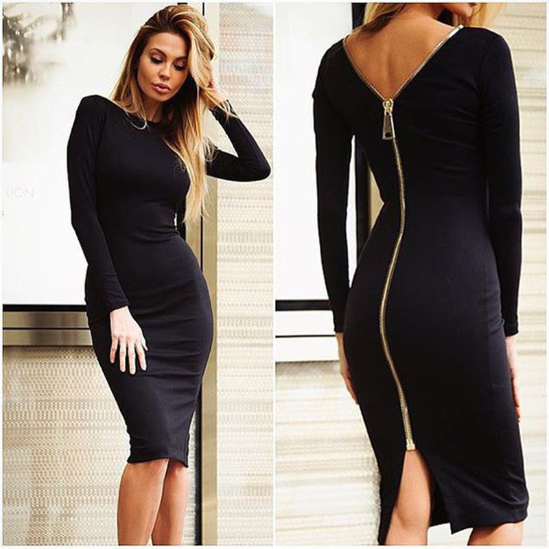 Black / LBodycon Sheath Dress Little Black Long Sleeve Party Dresses Women Clothing Back Full Zipper Robe Sexy Femme Pencil Tight Dress