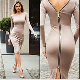 Bodycon Sheath Dress Little Black Long Sleeve Party Dresses Women Clothing Back Full Zipper Robe Sexy Femme Pencil Tight Dress-Dollar Bargains Online Shopping Australia