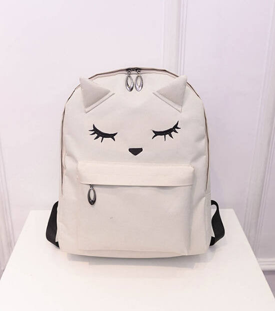 9d2b3dcc482d Cute Cartoon Embroidery Cat Printing Backpack Canvas Backpacks For Teenage  Girls College Style Casual Backpack Sac