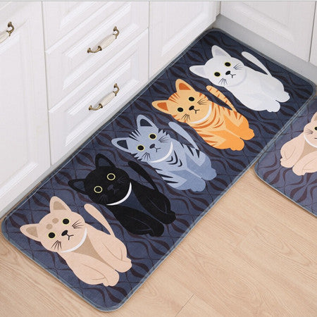 New Kawaii Welcome Floor Mats Animal Cute Cat Print Bathroom Kitchen Carpets House Doormats for Living Room Anti-Slip Tapete Rug40x60cm
