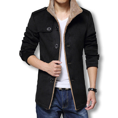 Black / XXXLMen Long Wool Coat Winter Men Jackets And Coats Slim Fit Men Windbreaker High Quality Trench Coat Plus Size