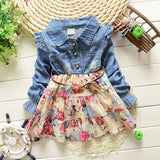 New spring Girls cowboy dress 100% cotton dress babi Girls autumn dress kids girls dress 2 colors 1-2-3-4-5 Year-Dollar Bargains Online Shopping Australia
