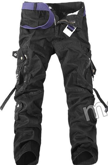 black / 28New Men Cargo Pants army green grey black big pockets decoration Casual easy wash male autumn pants P1309