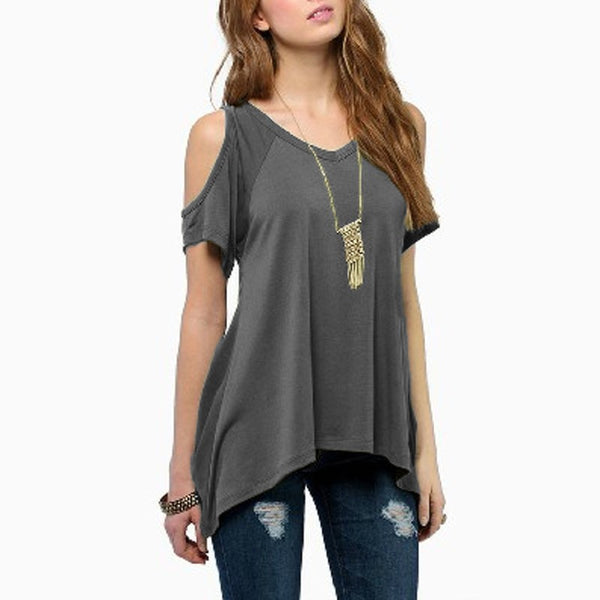 a2fcb39d5 Summer Style Women Casual Loose Tops Off Shoulder Shirts Off Shoulder Round  Neck Short Sleeve Blouses