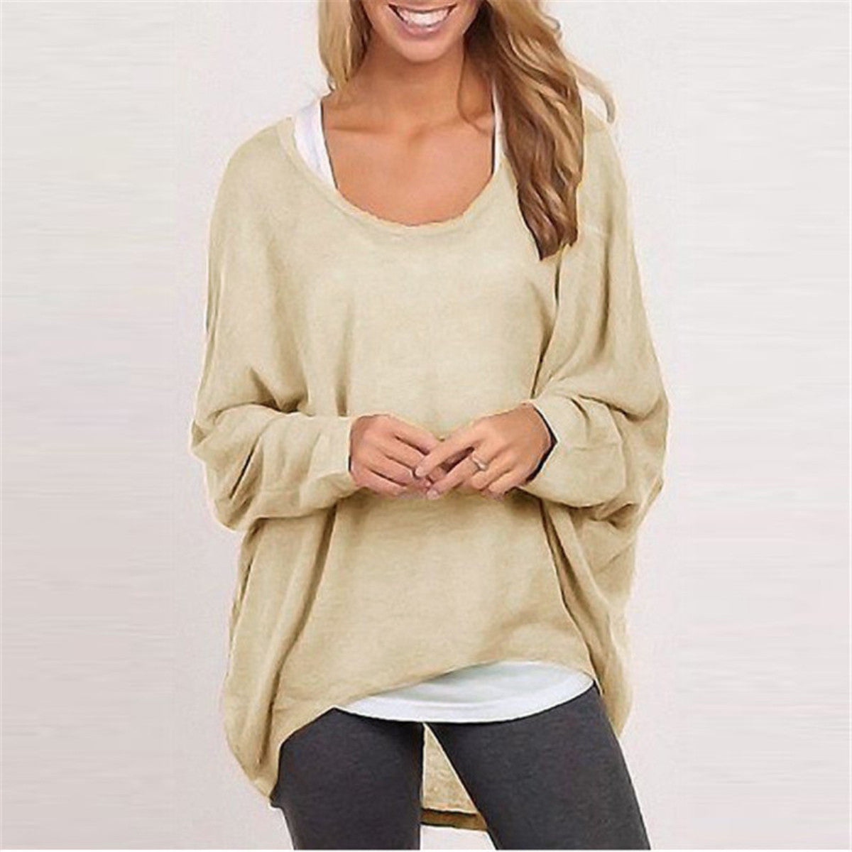 Beige / LWomen Sweater Jumper Pullover Batwing Long Sleeve Casual Loose Solid Blouse Shirt Top Plus