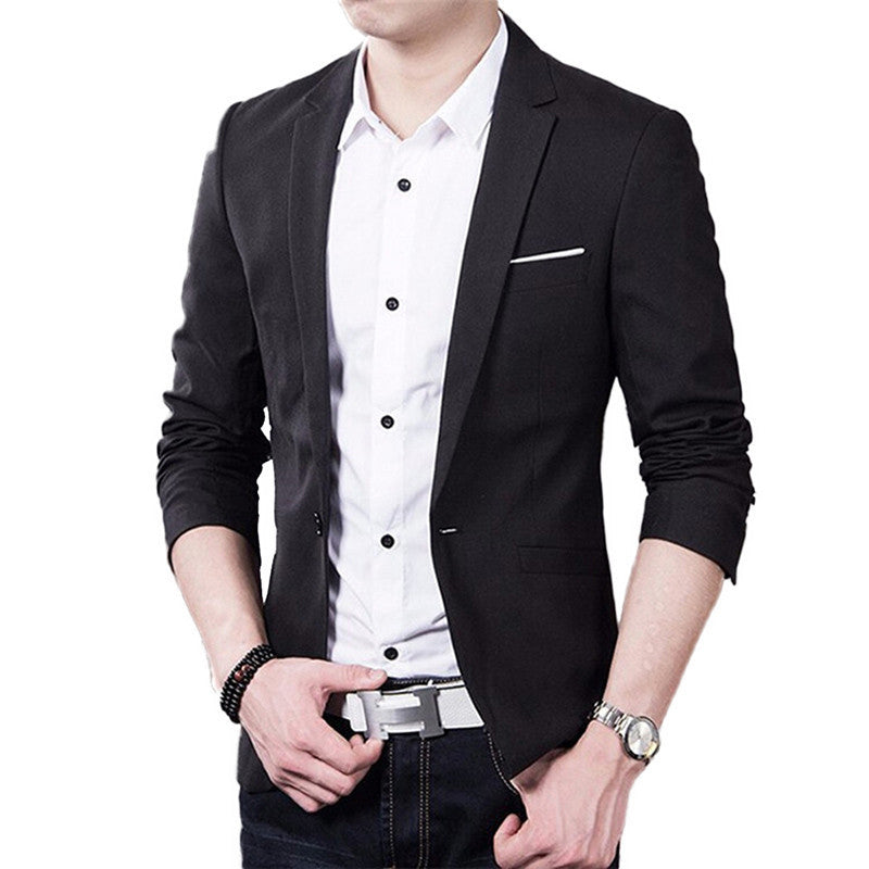 Black / 4XLMen Suit Jacket Blazer Cardigan Jaqueta Wedding Suits Jackets