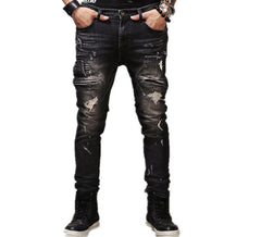 High Quality Mens Ripped Biker Jeans 100% Cotton Black Slim Fit Motorcycle Jeans Men Vintage Distressed Denim Jeans Pants Q1566-Dollar Bargains Online Shopping Australia