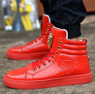Men PU Leather Lace Up Red White