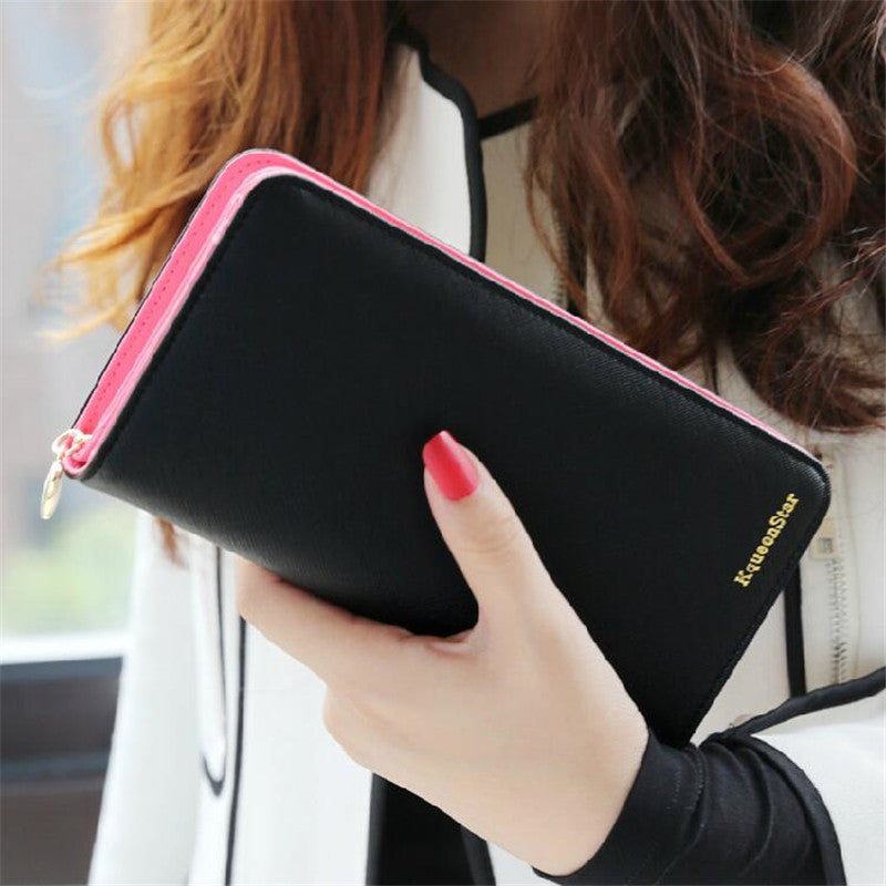 Fashion 7 Colors PU Leather Long Wallets Women Wallets Portable Casual Lady Cash Purse Card Holder Gift