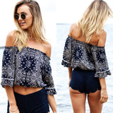 Women Blouse Shirt Sexy Strapless Off Shoulder Medium Sleeve Elastic Print Feminine Femininas Ruffle Top Clothing Clothes-Dollar Bargains Online Shopping Australia