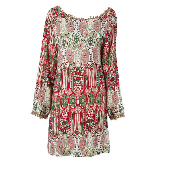 0c02766a989 Summer Vintage Ethnic Dress Sexy Women Boho Floral Printed Casual Beach  Dress Loose Sundress