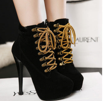 New Autumn Winter Women Thin High Heels Almond Toe Pumps Lace Up Fine Cross Strap Short Plush Evening Party Ankle Boots-Dollar Bargains Online Shopping Australia