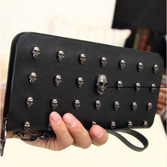 designer wallets famous brand women wallet Leather men wallets vintage Punk Skull Clutch Purses Card Holders carteira purse