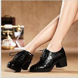 Fashion Patent Leather High Heels Oxford Shoes For Women Genuine Leather Thick Heel Women Pumps Woman Casual Shoes-Dollar Bargains Online Shopping Australia