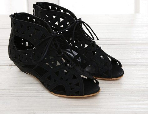 Big Size 31-43 Fashion Cutouts Lace Up Women Sandals Open Toe Low Wedges Bohemian Summer Shoes Beach shoes women AA516-Dollar Bargains Online Shopping Australia