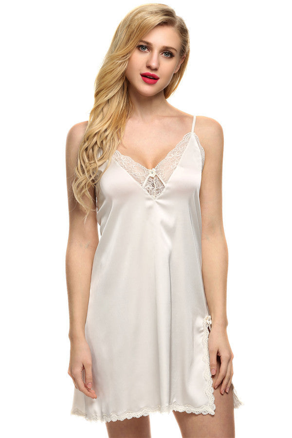 white / SBrand Women Sexy Suspender Nightdress Deep V Lace Satin Sleepwear Nightgown European and American Sexy Lingerie